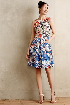 Like the cut and style, as well as the bold florals. Melia Dress #anthropologie