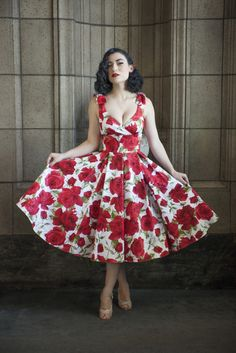 a770bc7bd45 Miss Vintage Lady wears The Pretty Dress Company Ascot Swing dress in White  and Red Sorrento