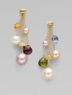 Marco Bicego Mixed Semi-Precious Stone & 18K Yellow Gold Earrings