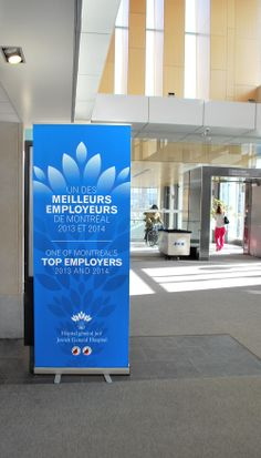 Our vibrant roll up banner design for Hôpital général juif / Jewish General Hospital in Montreal, Canada.