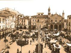 Foto antigua, de primeros de siglo XX probablemente, de la plaza mayor de Plasencia en día de mercadillo. Había un Kiosko de Música, no estaba el Abuelo Mayorga, el Ayuntamiento tenía la fachada antigua, había urinarios, los árboles eran muy pequeños... ¡¡Cómo ha cambiado!!