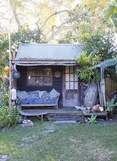 Cabin at the back of Bruce Goold's house - as featured in the Design* Sponge Sneak Peek - an Australian Artist's Beach Retreat