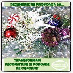 """Provocari Verzi - Metamorfoza unui fluture -: Tema #61 """" Transformam decoratiuni si podoabe de Craciun """" Christmas Wreaths, Christmas Bulbs, Challenges, Holiday Decor, Green, Blog, Home Decor, The Originals, Decoration Home"""
