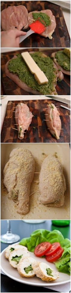 Mozzarella-Pesto Stuffed Chicken Breasts / * 1 cup firmly packed fresh basil leaves * 2 tablespoons pine nuts * 1 clove garlic * 1/4 cup olive or vegetable oil * 1/3 cup grated Parmesan cheese Chicken * 4 boneless skinless chicken breasts * 1 cup Homemade Pesto or purchased basil pesto * 4 slices (1/2 inch thick) mozzarella cheese * 1 cup Progresso® plain bread crumbs * 1 teaspoon salt * 1 teaspoon pepper * 1 Toothpicks -Bake 30 to 40 minutes