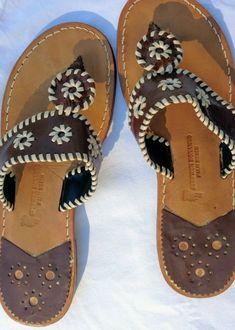 1c496510b8883 Womens Palm Beach Brown White sandals size 9 (Jack Rogers style)  fashion
