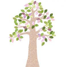 Tapetenbaum natur/rosa/grün