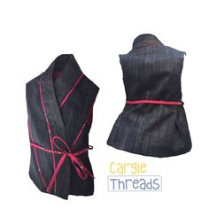 Funky Asian inspired denim vest for toddlers - made from recycled & vintage denim