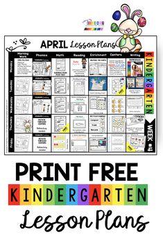 FREE lesson plans for spring in kindergarten april