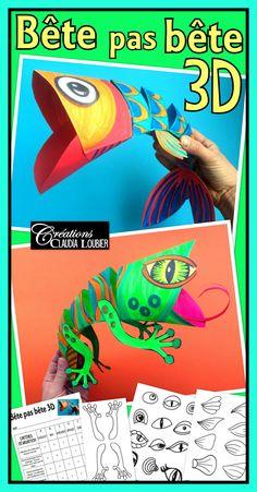 Ces bestioles 3D sauront charmer vos élèves, tout en leur donnant un défi à relever !  Quelques pliages très simples, quelques coups de ciseaux et de crayons pour créer un poisson ou un lézard en trois dimensions. Ce document contient beaucoup de dessins pour varier les yeux, les nageoires, les pattes, la queue, etc.  Idéal pour le poisson d'avril !  Un de mes projets coup de cœur ! Matériel simple et plaisir assuré !