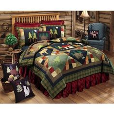 CandF Home Timberline Queen Quilt Set >>> You can get additional details at the image link. (This is an affiliate link) Rustic Quilts, Rustic Bedding, Primitive Bedding, Western Quilts, Unique Bedding, Quilt Bedding, Bedding Sets, Deer Bedding, Bedding Storage