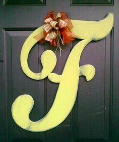 Wooden Letter F Stressed door hanger.  I WANT!
