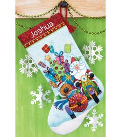 """Santa's Sidecar Stocking Counted Cross Stitch Kit - 13""""X20"""" 14 Count"""