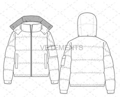 Front and back illustrator sketch of a Unisex Puffer jacket. Flat Drawings, Flat Sketches, Technical Drawings, Dress Sketches, Men's Puffer Coats, Puffer Jackets, Fashion Design Sketchbook, Fashion Sketches, Drawing Fashion