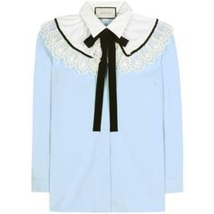 Gucci Lace-Embellished Cotton Blouse