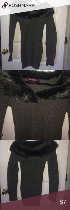 Faux fur collar jacket Gray cable knit type jacket with faux fur around the shoulders. Say What? Jackets & Coats