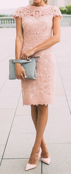 Blush Wedding Colors, dusty rose, pastels, pink wedding Blush lace pencil dress - perfect for a bridal shower or wedding guest dress!