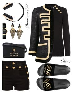 """""""#blackngold"""" by liligwada ❤ liked on Polyvore featuring Dolce&Gabbana, Balmain, Givenchy, Pryma, Alexis Bittar, Movado and Gucci"""