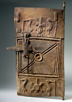 Africa | Granary door from the Senufo people of the Ivory Coast | Wood