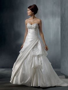 Gorgeous Classical Dress.  Taffeta, Embroidery, Crystal Beading, Chapel Train, Lace-up or zipperback - Style 2262