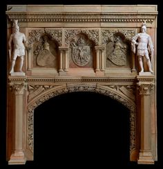 An extremely rare, important and well-preserved neo-Gothic terracotta chimney piece commissioned for Franz Joseph I, Emperor of Austria, King of Bohemia and King of Hungary, in the late century Fireplace Hearth, Stove Fireplace, Fireplace Surrounds, Fireplaces, Austria, Statues, Fireplace Fender, Art Nouveau, Renaissance