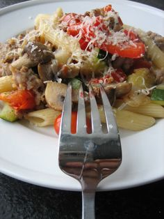 roasted summer vegetables with pasta and sausage!