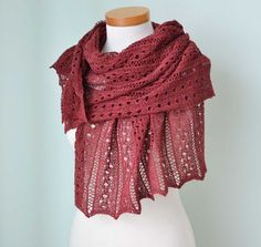 Burgundy silk Lace knitted shawl