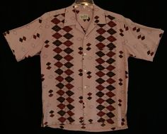 50s M RnR  Pink  Rayon  Rockabilly  Shirt  Atomic  par HicUpLounge