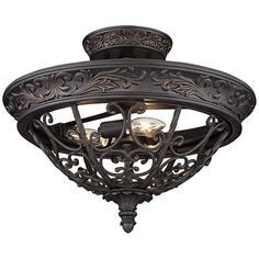 Franklin Iron Works Rustic Ceiling Light Semi Flush Mount Fixture Rubbed Bronze Scrollwork 16 Wide for Bedroom Living Room Ceiling Light Design, Ceiling Light Fixtures, Ceiling Lights, Foyer Chandelier, Chandeliers, Goth Home Decor, Fashion Lighting, Do It Yourself Home, Bronze Finish