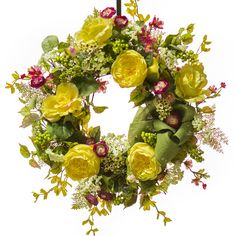 Yellow Cabbage Rose Spring / Summer Wreath (SW800)