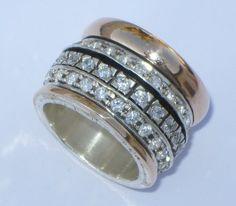 Designer ring silver gold. Cubic Zirconia Ring. Meditation ring set wit cz.