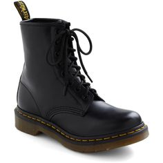 Dr. Martens Military I Like How You Lean Boots ($120) ❤ liked on Polyvore featuring shoes, boots, black, chaussure, boot - bootie, flat boot, military boots, black flat shoes, short boots and black evening shoes