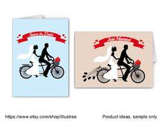 Wedding invitation bride and groom on tandem bicycle by Illustree