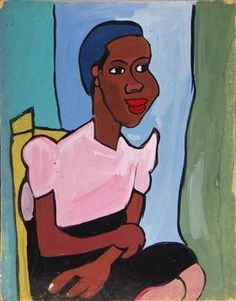 Woman with Pink Blouse in Yellow Chair - William H. Johnson