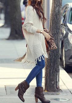 fringe knit sweater #women #fashion #trend #fall
