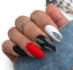 elegant black almond nail art designs - Black nails can suit just about every outfit and occasion that it is paired with. Today in this pos - Nails Polish, Red Nails, Hair And Nails, Red Black Nails, Black Almond Nails, Almond Nail Art, Black Nail Designs, Cool Nail Designs, Cute Nails