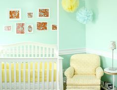Ercup Yellow And Sweet Mint Nursery Neutral Nurseries Baby Canvas