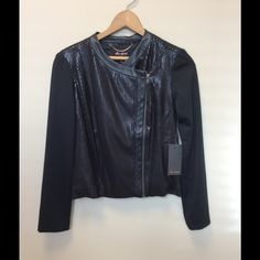 Ella Moss Anika Sequin Moto Jacket NWT Brand new!! Perfect for the cooler weather!  On-trend moto construction Faux leather details Contrast sleeves Side zipper with snap button closure Wear open for an effortlessly elegant look Round collar Long sleeves Cropped hem On sale at ellamoss.com for $173 Ella Moss Jackets & Coats