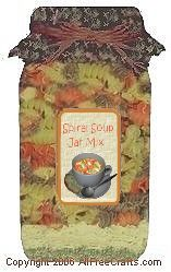 Spiral Soup Mix - This soup mix makes a kid-friendly tomato and pasta soup; makes a nice gift. This site includes mix instructions and printable jar labels.