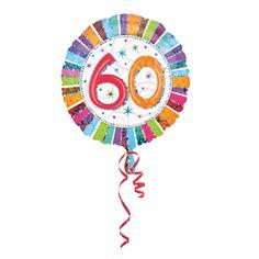Voor een verjaardag, folie ballon 60. Kleurige 60 jaar folie ballon van ongeveer 45 cm. Deze folie ballon wordt gevuld met helium geleverd en kan derhalve niet worden geretourneerd.
