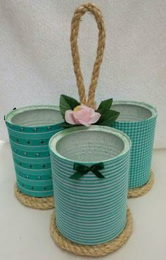 Tin Can Crafts, Jar Crafts, Bottle Crafts, Arts And Crafts, Recycled Tin Cans, Recycled Crafts, Rope Crafts, Diy Home Crafts, Tin Can Art