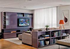Construindo Minha Casa Clean: Salas de Estar e de TV Modernas!!! armario p TV c porta