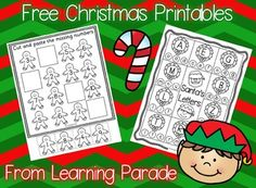 Enjoy this FREE set of math and literacy Christmas printables to use during December. Fun, no prep activities suitable for Kindergarten and some 1st graders too!