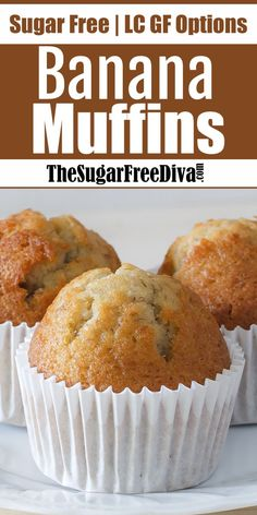 This is the recipe for yummy Sugar Free Banana Muffins - Muffin Recipes - This recipe for Sugar Free Banana Muffins is a popular recipe. I like that the only sugar that is i - Sugar Free Carrot Cake, Sugar Free Deserts, Sugar Free Banana Bread, Sugar Free Chocolate Chips, Sugar Free Recipes, Banana Bread Recipes, Recipes For Bananas, Best Banana Muffin Recipe, Sugar Free Muffins