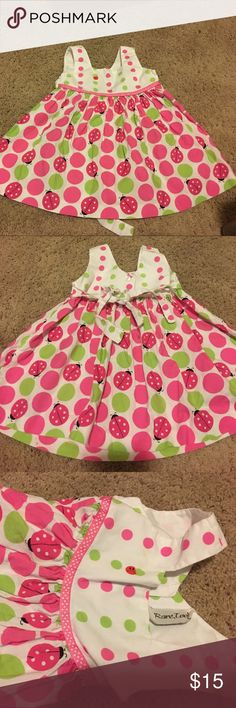 Adorable summer dress Pink green and white dress with lady bugs on it rare too Dresses Casual