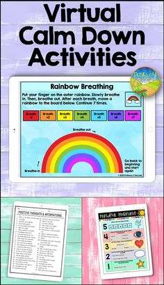 Virtual Calm Down Activities Calming Activities, Activities For Teens, Counseling Activities, Learning Activities, Coping Skills Activities, Educational Activities For Kids, Art Therapy Activities, Social Emotional Learning, Social Skills