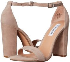 The perfect pair for brunch on warm Sunday, the Steve Madden Carrson heels. ; Upper made of leather suede. ; Buckle at ankle closure. ; Man-made lining. ; Lightly cushioned foot bed. ; Round toe with wrapped chunky heel. ; Man-made outsole. ; Imported. Measurements: ; Heel Height: 4 in ; Weight: 14 oz ; Product measurements were taken using size 8, width M. measurements may vary by size.