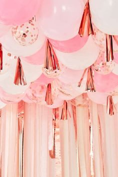 These rose gold ceiling balloons with tassels will so stand out at your party and make it looks absolutely incredible! This lavish quinceañera party decoration will absolutely take your party to another level and add just the right amount of sparkle to your party. See more party ideas and share yours at CatchMyParty.com #catchmyparty #partyideas #quinceanera #quinceanerapartysupplies #quinceaneraparty #15thbirthday #girlbirthdayparty #latina Bridal Shower Cakes, Bridal Shower Party, Girls Birthday Party Themes, Birthday Parties, 15th Birthday, Girl Birthday, Balloon Tassel, Gold Ceiling, Quinceanera Party