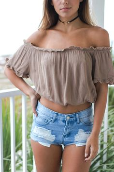 Hold Me Close Camel Off The Shoulder Crop Top