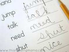 cursive handwriting practice page