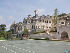 tennis court view of house
